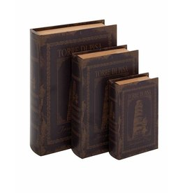 UMA ENTERPRISES INC. Wood LTHR Book Box S/3