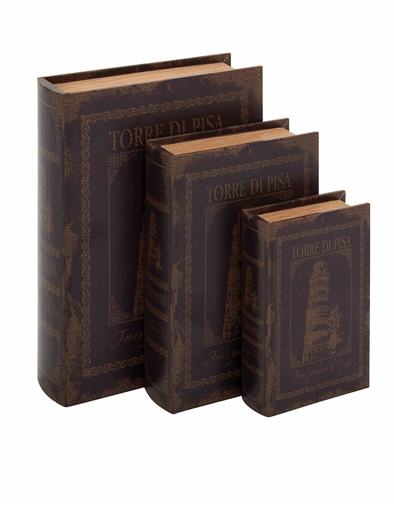 UMA ENTERPRISES INC. Wood LTHR Book Box S/3