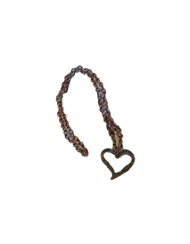 Hammered Heart Pendant - Copper