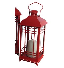 MelRose Medium Red Lantern (metal/glass)
