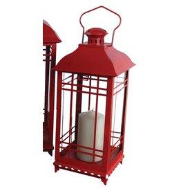 MelRose Medium Red Lantern (metal/glass)
