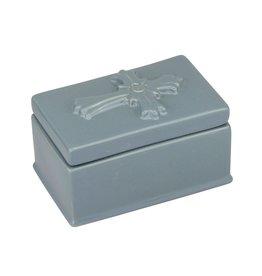 Small Denim Ceramic Cross Trinket Box