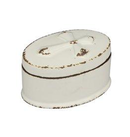 Small Oval Worn White Ceramic CROSS Trinket
