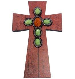 DRAKE DESIGN Layered Wall Cross - Rust Wood w/Beads