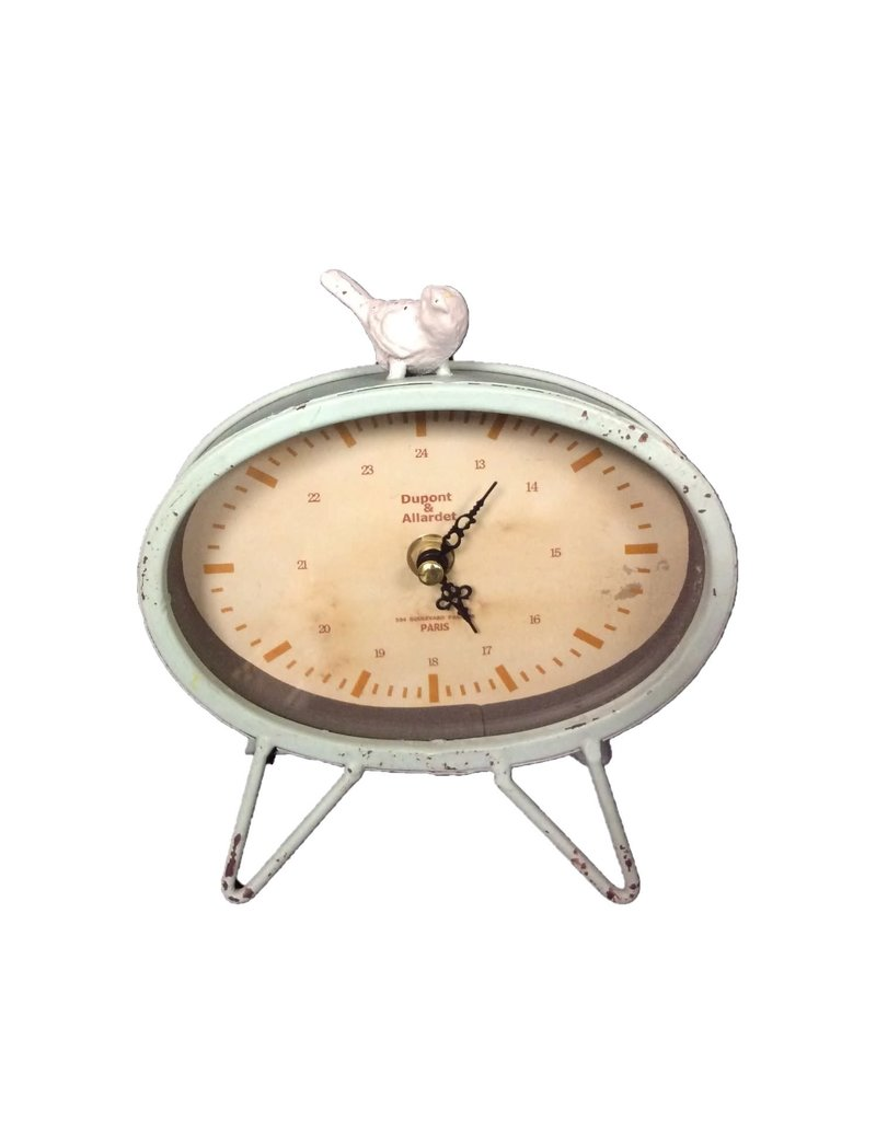 UMA ENTERPRISES INC. Bird Desk Clock 3A Iron Glass