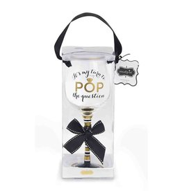 Mud Pie POP THE QUESTION Wine Glass