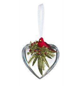 """4"""" Crystal Cardinal Heart"""