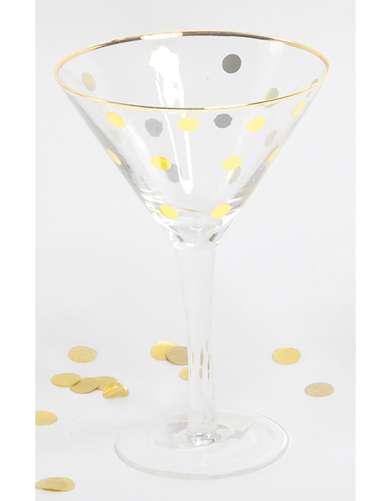 8 Oak Lane Martini Glass with Gold Dots