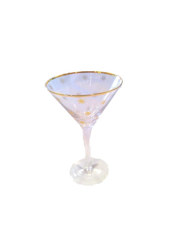 8 Oak Lane Martini Glass with Gold Stars