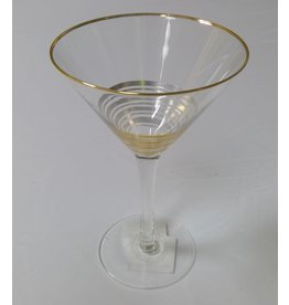8 Oak Lane Martini Glass with Gold Stripes