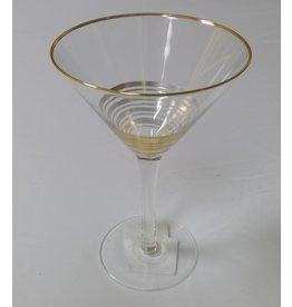 8 Oak Lane Martini Glass with Gold Stripes