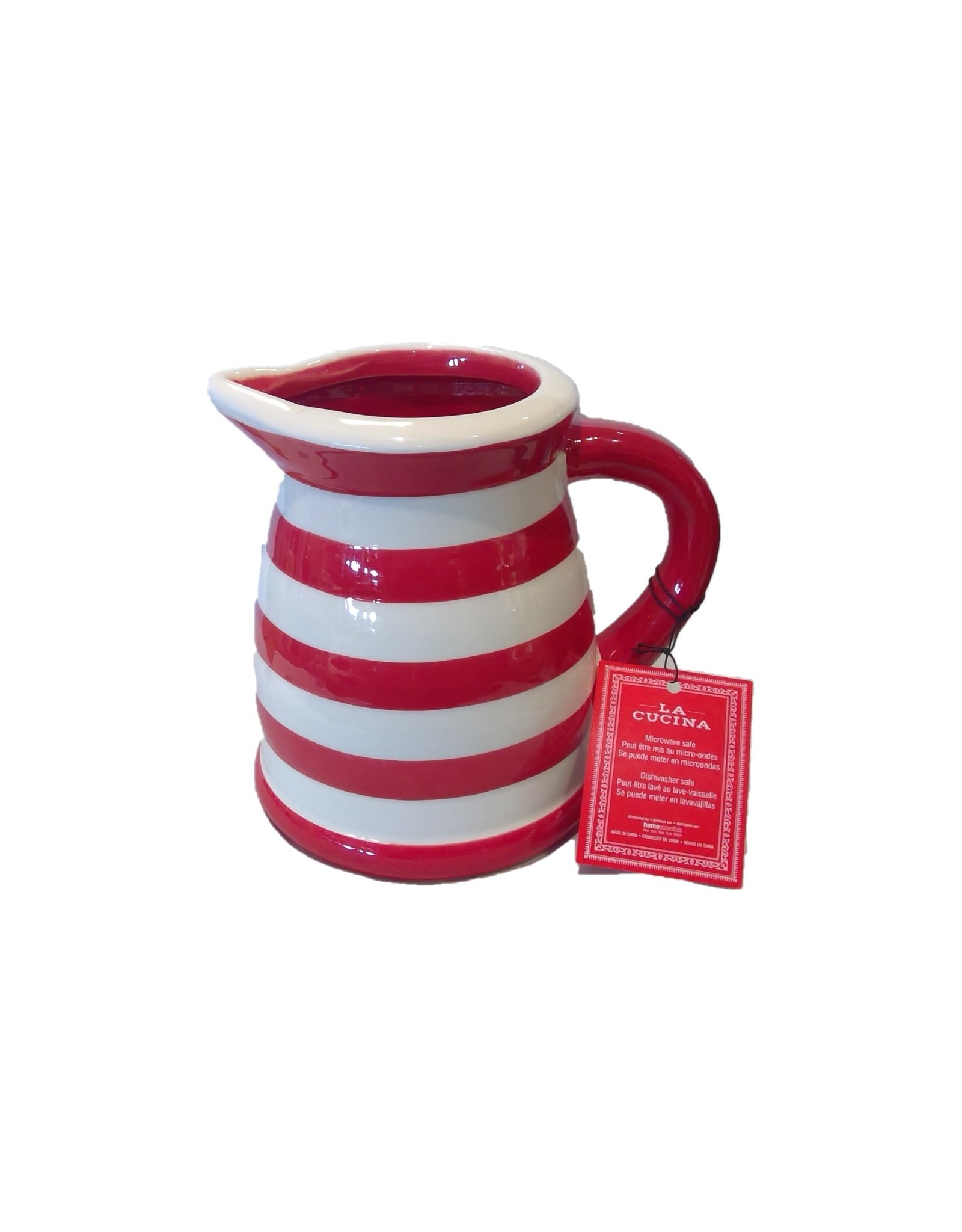 Home Essentials Small Pitcher - Red/White Stripe (22 oz)