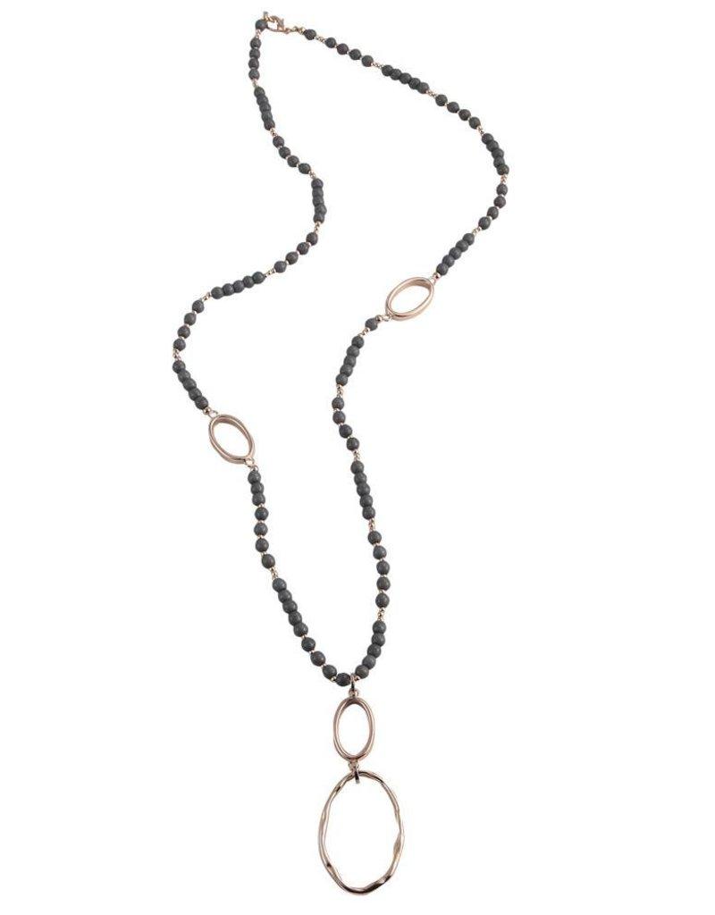 Anna Nova Reflections Necklace - Grey Beads, Rose Gold