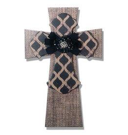 DRAKE DESIGN Layered Wall Cross - Burlap w/black lattice