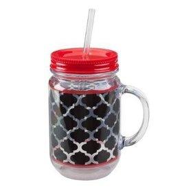 OCCASIONALLY MADE Acrylic Mason Jar - Blk/Red