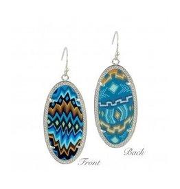 Earrings Frame Silver- Aztec Blue