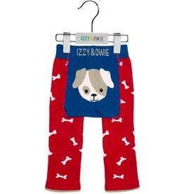 Pavilion Red & Blue Puppy- (6-12 months) baby leggings
