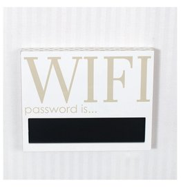 ADAMS & CO. (WIFI) wood sign w/chlkbrd white/gold