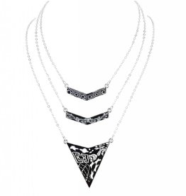 jilzarah Trinity Necklace (silver) black/white