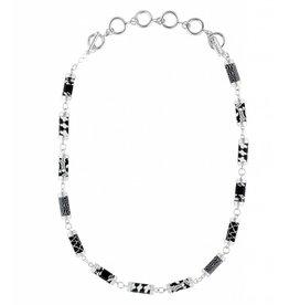 Black White Tube Necklace (silver)