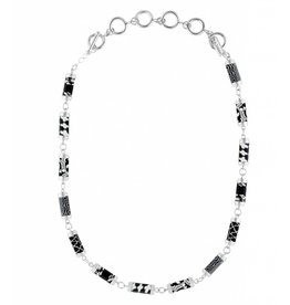 jilzarah Black White Tube Necklace (silver)