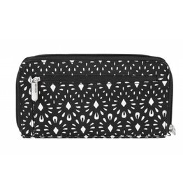 Travelon Anti-Theft Boho Zip Wallet Geo Shell- black & white