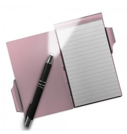 Aluminum Note Pad with LED Pen Rose