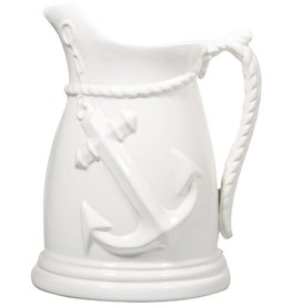 Home Essentials 39 oz White Anchor Emblem Pitcher