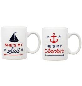 Home Essentials Anchor & Sail Mug Set of 2 15oz.