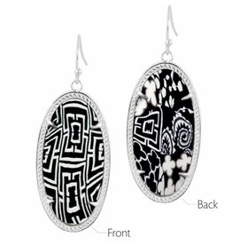 Earrings- Frame Silver- Black white