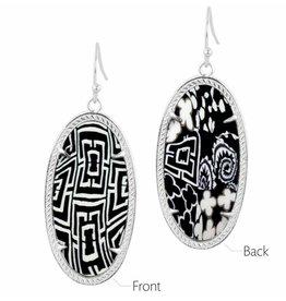 Earrings- Frame Silver- Black white