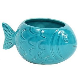DENNIS EAST INTERNATIONAL INC Small Stoneware Fish Planter