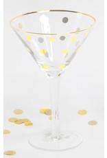 8 Oak Lane Martini Glass with Gold Dots