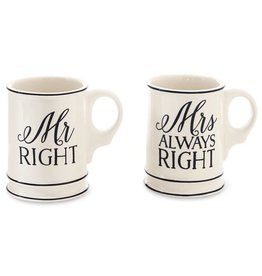 Mud Pie Mr. Mrs. Mugs Boxed Set