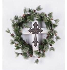 Transpac Faux Pine Wreath w/ Cross