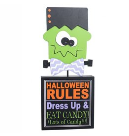 ADAMS & CO. HALLOWEEN RULES Wood Block