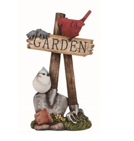 """Transpac Bird on Post with """"Garden"""" sign"""