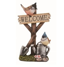 "Transpac Bird on Post ""Welcome"" Sign"