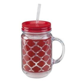 OCCASIONALLY MADE ACRYLIC MASON JAR - RED/WHITE