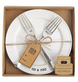 Mud Pie Mr./Mrs. Plate & Fork Set