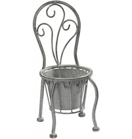 Home Essentials Grey Metal Seat Planter