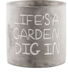 "Home Essentials Cement Planter-""Life's A Garden"""