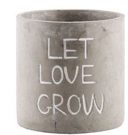 "Home Essentials Cement Planter- "" Let Love Grow"""