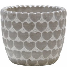 "Home Essentials 5x4""H Cement Hearts Planter"