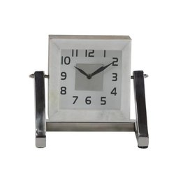 "UMA ENTERPRISES INC. Silver Table Clock 8""W, 8""H"
