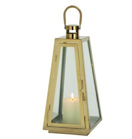 "UMA ENTERPRISES INC. Steel Glass Gold Lantern 18""H"