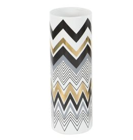 UMA ENTERPRISES INC. Ceramic Vase Gold/Black Chevron Accent 1