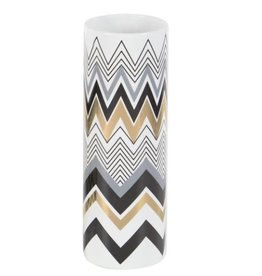 UMA ENTERPRISES INC. Ceramic Vase Gold/Black Chevron Accent 2