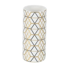 UMA ENTERPRISES INC. Gold/Black Geometric Design Ceramic Vase
