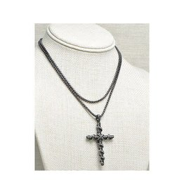 "Fossick Imports 30"" Cable Cross on Black Necklace"